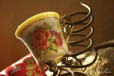 I'm contemplating my next creative project, but all I have right now is a tiny rose tea cup, a rusty bed coil, and a few ideas about what I want to do.