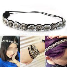 Damen Strass Kunstperlen Haarband Elastisch Kopfband Schmuck Stirnband Elegant in Kleidung & Accessoires, Damen-Accessoires, Haarschmuck | eBay