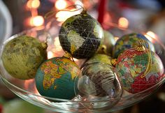 globe ornaments go well with the international theme of our Christmas tree