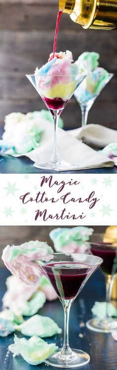 The Magic Cotton-Candy Martini is a showstopper! Swap out your regular cocktail syrup for some sweet cotton candy. We promise you won't believe just how cool this is! Cocktail Syrups, Vodka Cocktails, Cocktail Recipes, Martinis, Candy Drinks, Fun Drinks, Pool Bar, Alcoholic Desserts, Alcoholic Candy