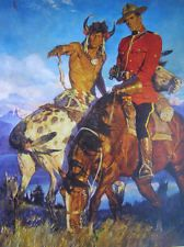 Canadian Mountie RCMP with Indian on Appaloosa A.Friberg