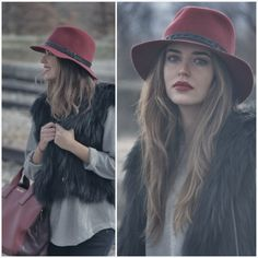 Colored Wide brim hats and fur Clara Alonso, Wide-brim Hat, Red Hats, Strike A Pose, Hair Looks, Dress Me Up, Beautiful People, What To Wear, Fashion Beauty