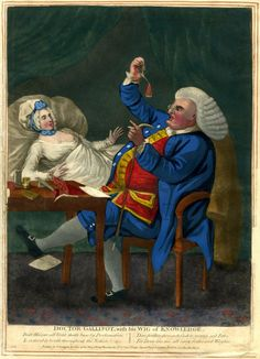 Satire: a doctor at the bedside of a female patient weighs a coin with which he has just been paid.  c.1774  Hand-coloured mezzotint
