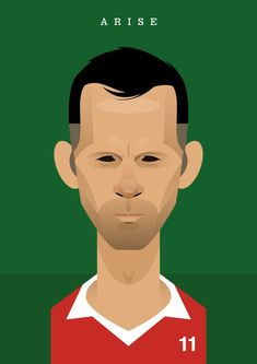 Sir Ryan Joseph Giggs of Manchester United & Wales. by Stanley Chow Manchester United Legends, Manchester England, Manchester United Football, Retro Football, Football Art, Football Posters, Soccer Art, Football Images, Soccer Logo