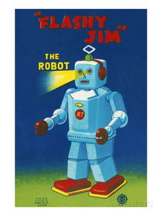 Flashy Jim - The Robot Muursticker