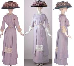 Day dress, London, ca. 1910. Linen and embroidered lawn, trimmed with bands of embroidered net.