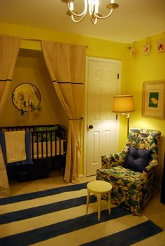 like the idea of putting the crib in the closet. drape idea is cool and until there older they don't have a lot of stuff in the closet anyway. The chair is awful though. Baby Boy Rooms, Baby Bedroom, Baby Boy Nurseries, Baby Cribs, Kids Bedroom, Kids Rooms, Nursery Nook, Girl Nursery, Project Nursery
