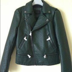 Zara Green Leather jacket Green faux leather biker style jacket. Not brand new , has been worn Zara Jackets & Coats