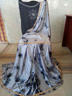 Satin shibouri sarees with blouse embroidery and mirror work lace Shibori Sarees, Designer Blouse Patterns, Mirror Work, Indian Designer Wear, Saree Blouse Designs, Indian Sarees, Indian Wear, Pattern Design, Satin