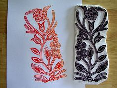 Floral Beading Hand carved stamps sello hecho a mano