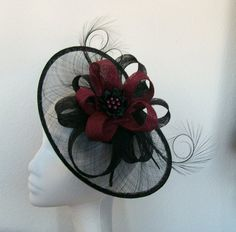 Black & Burgundy Cecily Saucer Fascinator Hat Order Now from Gothic Diva Designs #Gothic #Steampunk Fabulous Elegant Gothic, Victorian Vintage & Steampunk inspired designs, Including mini hat fascinators, feathered hair clips, ostrich & peacock feather fans, saucer hats, wedding bouquets, bandeau veils and wristlets. www.gothicdivadesigns.co.uk