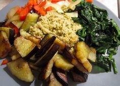 Lemon & Spinach Cous Cous with roasted eggplant & red pepper! Healthy Vegetarian dinners