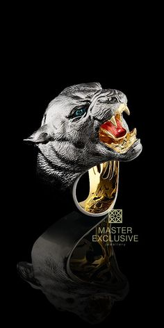 Master Exclusive Jewellery Black and Gold, cougar ring Skull Jewelry, Jewelry Art, Jewelry Rings, Jewelery, Jewelry Accessories, Jewelry Design, Fashion Jewelry, Animal Rings, Animal Jewelry
