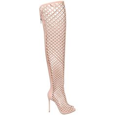 Le Silla Women 110mm Cage Leather Over The Knee Boots ($1,815) ❤ liked on Polyvore featuring shoes, boots, nude, lace up boots, high heel boots, leather lace up boots, thigh high platform boots and platform boots