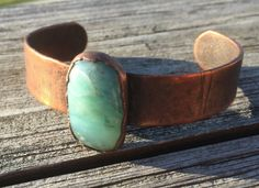 Peruvian Blue Opal Copper Electroformed Cuff; Uncut, Raw, Blue Opal Bracelet;rough natural Andes Opal electroformed by LoMoStudio on Etsy