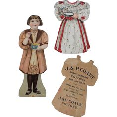 Early J&P Coats Advertising Paper Doll With 2 Dresses