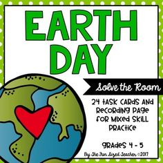 Earth Day Math fun! This Solve the Room math activity is perfect for spring! You can use it as a Scoot game or a center anytime in April, too! It provides a spiral review of math skills while allowing your students to move around the room, work collaboratively and have fun - all at the same time!