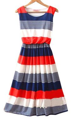 Red Round Neck Sleeveless Striped Mid Waist Sun Dress