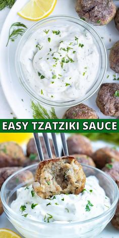 Need an easy cucumber recipe idea?  This creamy Greek Tzatziki yogurt dip is full of lemon, garlic, and fresh dill.  It's a quick and simple recipe that tastes as authentic as the one served at your favorite Mediterranean restaurant.  Serve this low-carb and keto sauce with chicken shish kabobs, turkey meatballs, lamb gyros, or vegan falafel for a healthy dinner or lunch for the family! #yogurt #dill #cucumber #dip #greek Greek Cucumber Sauce, Cucumber Dip, Greek Yogurt Sauce, Greek Yogurt Recipes, Best Tzatziki Sauce Recipe, Vegan Tzatziki, Tzatziki Recipes, Dill Recipes, Appetizers