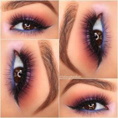#purple / violet lid, blended into warm peach, #blue waterline | colorful but smokey / sultry #makeup @danapackett
