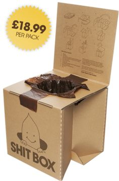 LOL - trail running ;) Shit Box is a lightweight portable cardboard toilet, made specifically for outdoor use. The box pops up from a convenient 14 inch flat pack to a rigid, reusable, comfortable toilet. Each box comes with ten degradable waste bags.