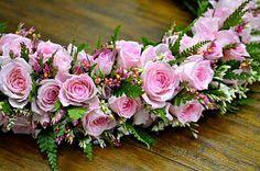 Rose Lei made by Meg Flower Lei, Flower Garlands, Flower Crown, Ribbon Lei, Ribbons, Candy Leis, Hawaiian Leis, Hawaii Flowers, Haku