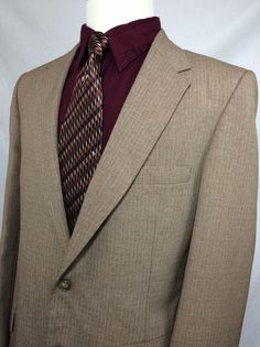 VTG 70s Johnny Carson Sport Coat Jacket Blazer Wool Mens Size 42R Beige Tweed #JohnnyCarson #sportcoat #ebay #beige #tweed #vintage #vtg #70s