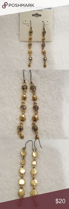 """New  Lucky Brand Long Linear Earrings 2.75"""" gold tone earrings with faceted crystal accents/glass.  Matching bracelet also available in my closet. Lucky Brand Jewelry Earrings"""