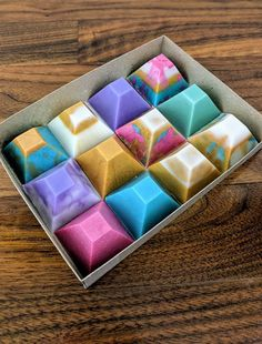 Pyramid Marbled Soap Gift Set 12 Pink Yellow Green Teal