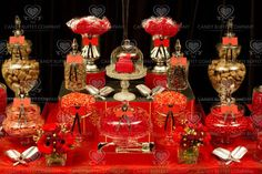 I like the idea of just a few gold coloured candy jars and the rest red