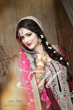 Pakistani Bride ♡ ❤ ♡ Pakistani Wedding Dress, Pakistani Style. Photo by Madeeha. . Follow me here MrZeshan Sadiq   https://m.facebook.com/MadeehasSalon/