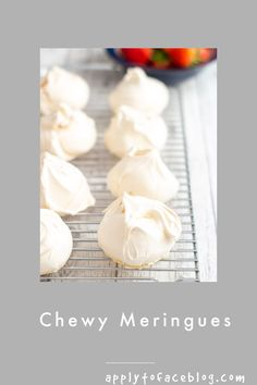 This homemade meringue recipe has become one of my most favourite and most followed recipes ever.I am very particular here. I want deliciously chewy meringues in the middle with a crisp crust on the outside. Nothing else is good enough.....nothing. #applytofaceblog #meringues #meringuerecipe #makeaheaddesserts #homemadedesserts #desserts Make Ahead Desserts, Homemade Desserts, Easy Desserts, Baking Recipes, Cookie Recipes, Snack Recipes, Dessert Pizza, Pudding Desserts, Small Cake