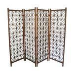 """Geometric Hand Crafted Double Hinged Room Divider - or screen, wood.  H71""""."""