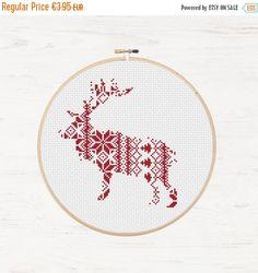 Memorial Day Sale Nordic Pattern Christmas Reindeer Cross Stitch Pattern Printable Deer Instant Download PDF Scandinavian Modern Cross Stitc by Stitchonomy