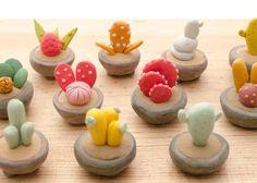 Three Miniature Potted Plants on wood base by LaDetallista on Etsy