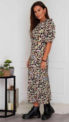 Green dress, maxi dress, 3/4 length sleeves, animal print dress, summer dress, occasion wear, virgo