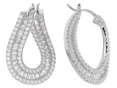 3c640d839 Bella Luce (R) 4.00ctw Rhodium Over Sterling Silver Hoop Earrings (3.19ctw