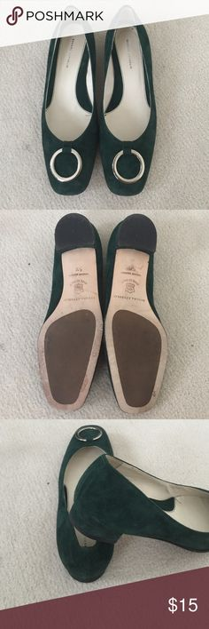 Green suede flats BR suede flats with ring hard wear detail. Made in Italy. High quality flats with little wear. Comes w box Banana Republic Shoes Flats & Loafers