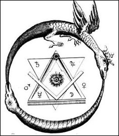 """The Ouroboros (or Uroborus) is an ancient symbol depicting a serpent or dragon eating its own tail. The name originates from within Greek language; οὐρά (oura) meaning """"tail"""" and βόρος (boros) meaning """"eating"""", thus """"he who eats the tail"""". The Ouroboros Masonic Symbols, Ancient Symbols, Freemason Symbol, Masonic Art, Mayan Symbols, Viking Symbols, Egyptian Symbols, Viking Runes, Illuminati"""