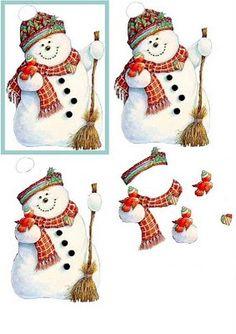 Bonhomme de neige / snowman decoupage