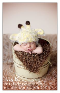 Giraffe Newborn Baby Hat, Baby Photo prop. $35.00, via Etsy.