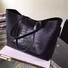 2016 New Saint Laurent Bag Cheap Sale-Saint Laurent Large Shopping Tote Bag in Black Crocodile Embossed Leather Source by Bags trend Alaia Bag, Ysl Bag, Saint Laurent Paris, Leather Bag Pattern, Best Tote Bags, Saint Laurent Handbags, Cheap Bags, Casual Bags, Luxury Bags