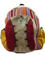 Dancing Buddha Hemp Laptop Backpack Multicolor