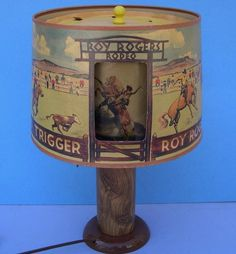 Vintage Roy Rogers Rotating Rodeo Lamp Great to Display with Cap Guns