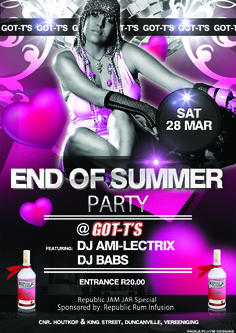 IT IS OFFICIAL!!! Ami-LectriX is coming to GOT-T'S for our End of Summer Party on 28 March 2015. Supported by DJ Babs. Entrance will be only R20.00. +18 Only (No ID, No Entry) End of summer party proudly sponsored by: Republic Rum Infusion.  Follow Ami-Lextrix: FB: dj.AMILECTRIX   t: @AMILECTRIX   i: @AMILECTRIX  /// AMI-LECTRIX ///  AMI-LECTRIX – the Superstar DJ – is rocking and captivating dance-floors across South Africa and has been since she started DJ'ing in August 2007. Club Dance Music, Slush Puppy, Dance Floors, End Of Summer, Edm, Superstar, South Africa, Entrance, March