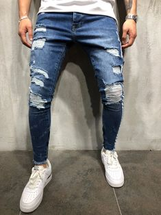Mens slim fit Stars /& Stripes urban jeans USA print skinny urban hip hop pants