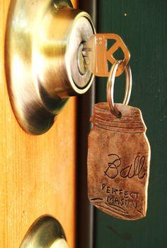 Mason Jar Keychain  Hand Tooled Leather by OneLaneRoad on etsy
