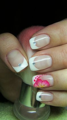 French manicure with a flower by Valkira - Nail Art Gallery nailartgallery.nailsmag.com by Nails Magazine www.nailsmag.com #nailart