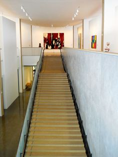 Monumental staircase tapers from 10 feet wide at bottom to 5 feet at top to slow ascent to art works, clear your mind to encounter big Clyfford Still painting as climax with Diebenkorn and Hans Hofmann at right. Hans Hofmann, Clyfford Still, New York School, Postwar, New Museum, American Art, Art History, Big, Painting