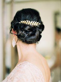 Elegant gold leaf comb with bun updo | Beauty Secrets Salon | Loft Photography